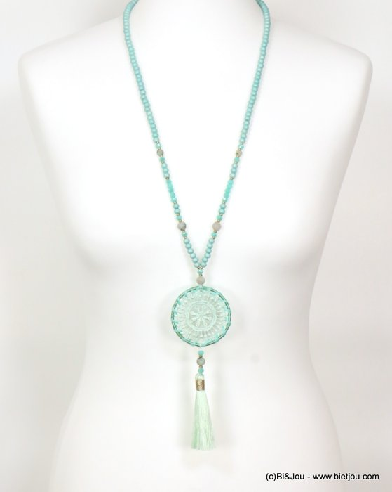long necklace 0119057-29 sautoir woman tassel sliding adjustable wood-crystal-stone-polyetser-cotton