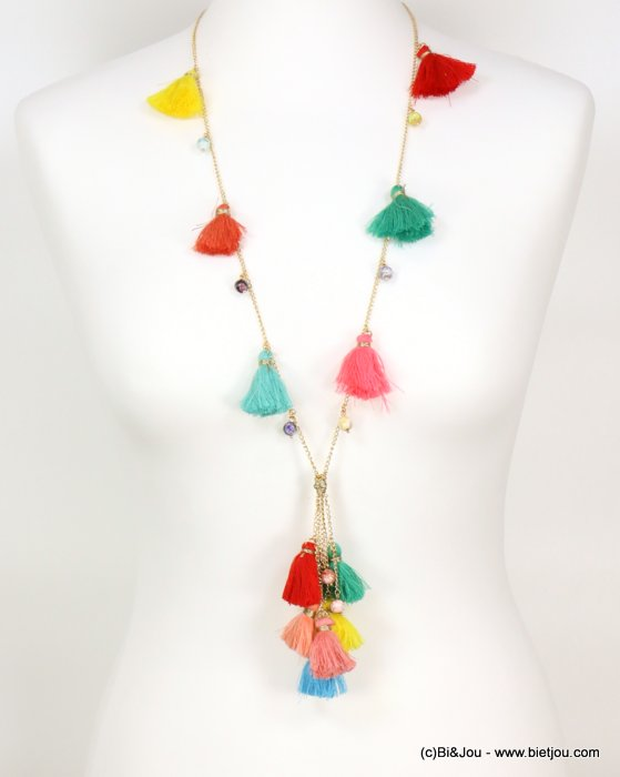 long necklace 0119058-99 sautoir multicoloured fabric tassel glass round beads polyester-metal