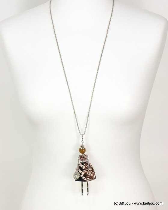 long necklace 0119064-97 doll sautoir snake print fabric dress glass bead rhinestone metal chain