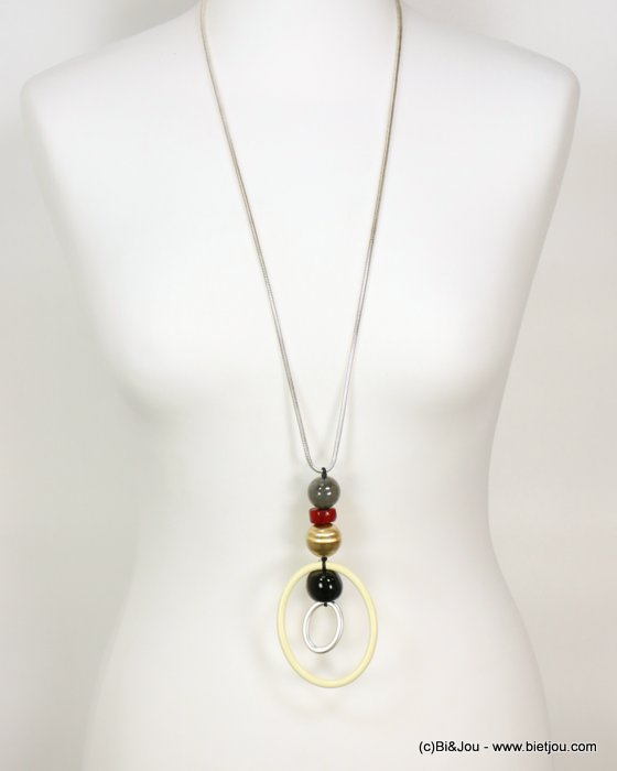 long necklace 0119069-01 metal rings marbled resin balls snake chain