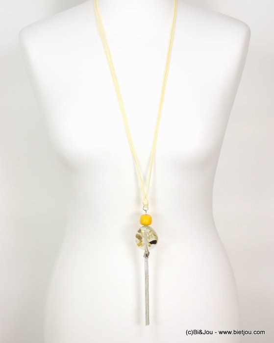 long necklace 0119070-14 sautoir snake chain tassel shell chips clear resin pendant waxed cotton double cords
