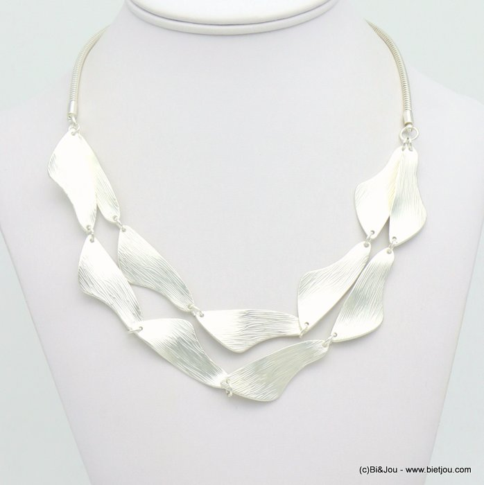 necklace 0119072-13 double-row hammered metal petals snake chain