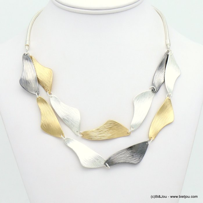 necklace 0119072-21 double-row hammered metal petals snake chain