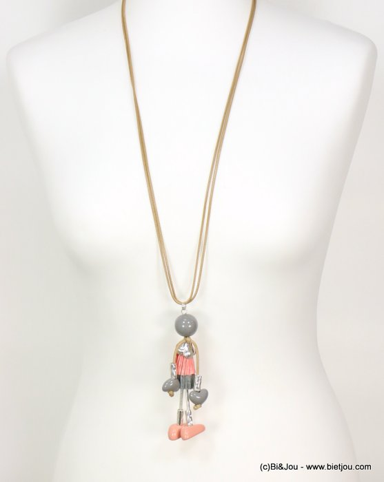 long necklace 0119077-18 doll sautoir paper thread dress metal acrylic beads waxed cotton double cords