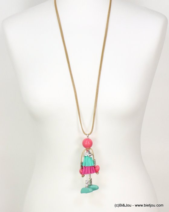 long necklace 0119077-28 doll sautoir paper thread dress metal acrylic beads waxed cotton double cords