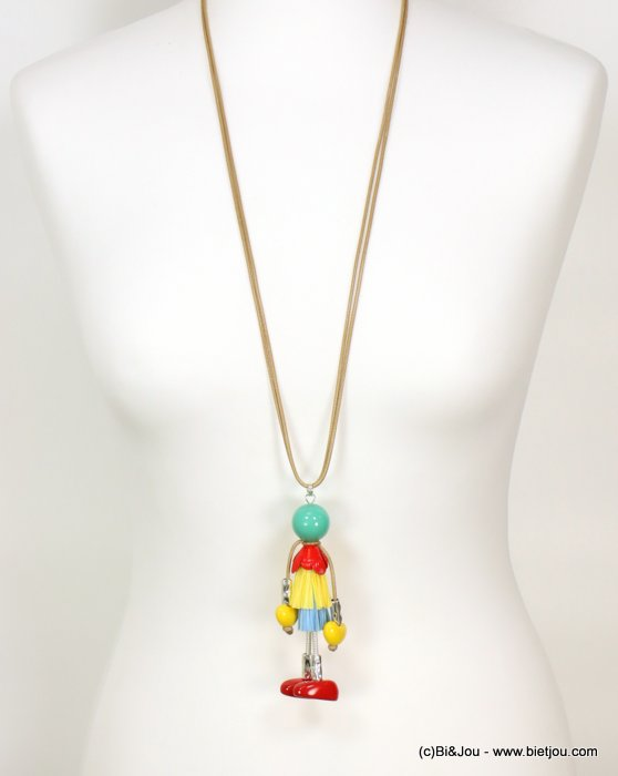 long necklace 0119077-99 doll sautoir paper thread dress metal acrylic beads waxed cotton double cords