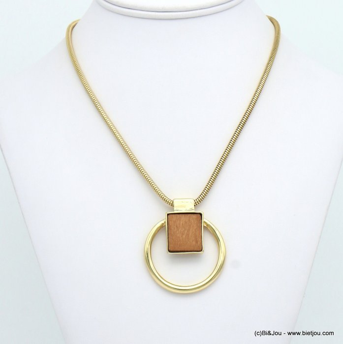 necklace 0119078-02 geometric metal-wood