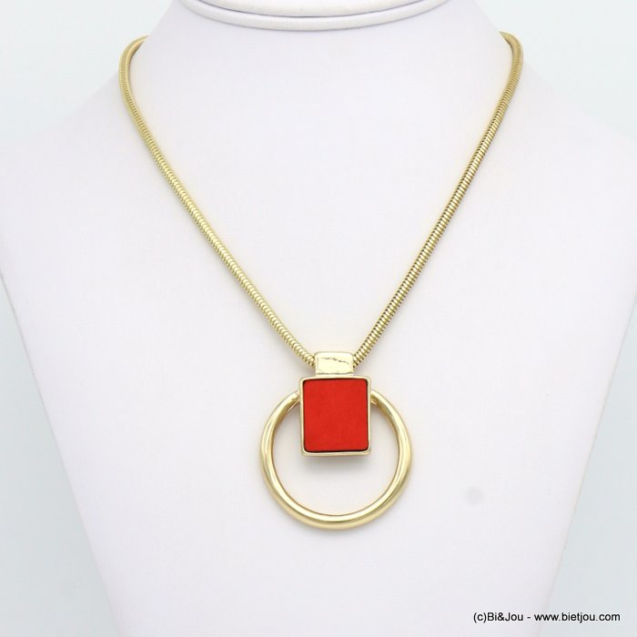 necklace 0119078-12 geometric metal-wood