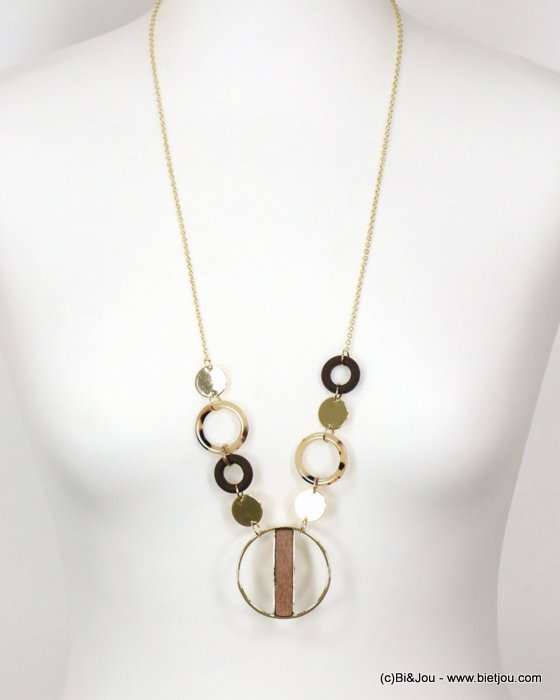 necklace 0119083-02 tortoise shell resin-metal-wood