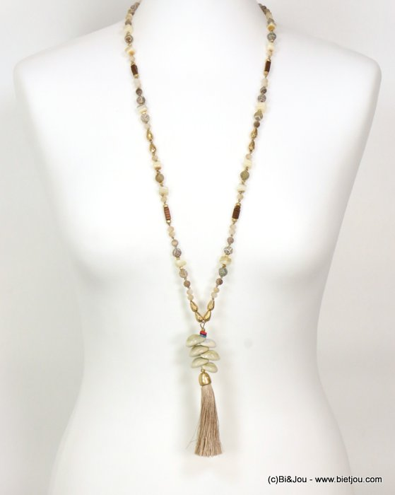 long necklace 0119086-06 sautoir tassel metal-polyester-shell-glass-reconstituted stone