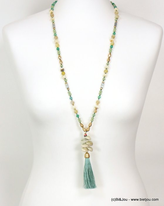 long necklace 0119086-07 sautoir tassel metal-polyester-shell-glass-reconstituted stone