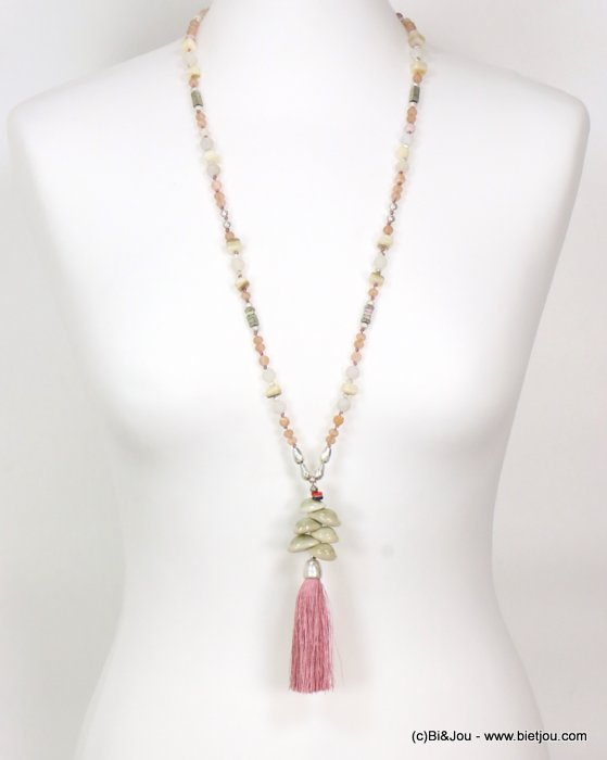 long necklace 0119086-18 sautoir tassel metal-polyester-shell-glass-reconstituted stone