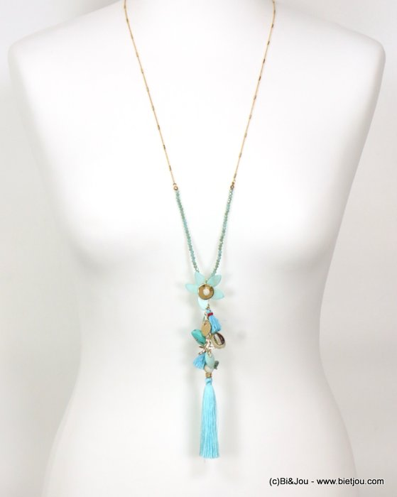 long necklace 0119088-07 sautoir tassel flower metal-polyester-shell-crystal-reconstituted stone