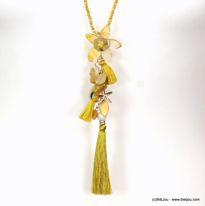 long necklace 0119088-14 sautoir tassel flower metal-polyester-shell-crystal-reconstituted stone