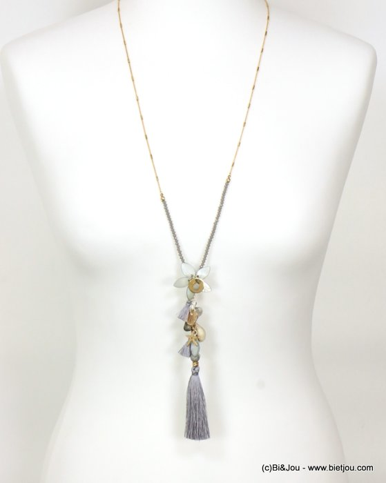 long necklace 0119088-25 sautoir tassel flower metal-polyester-shell-crystal-reconstituted stone
