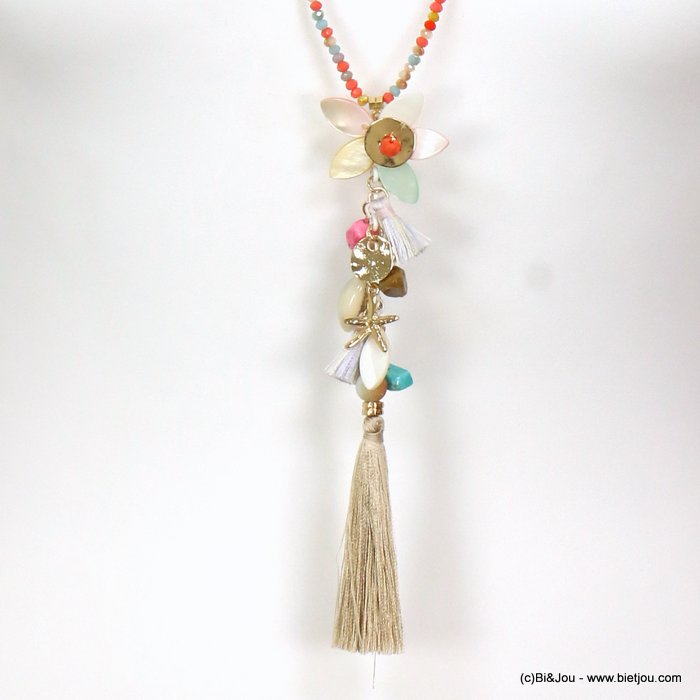 long necklace 0119088-99 sautoir tassel flower metal-polyester-shell-crystal-reconstituted stone