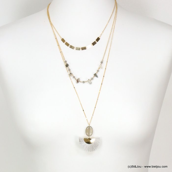 long necklace 0119089-25 sautoir multi-layer stone chips fan-Shaped thread tassel pendant