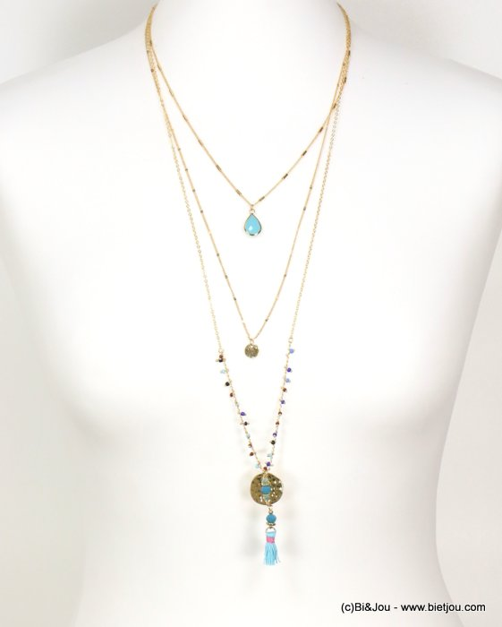 long necklace 0119091-07 sautoir multi-layer crystal drop thread tassel pendant