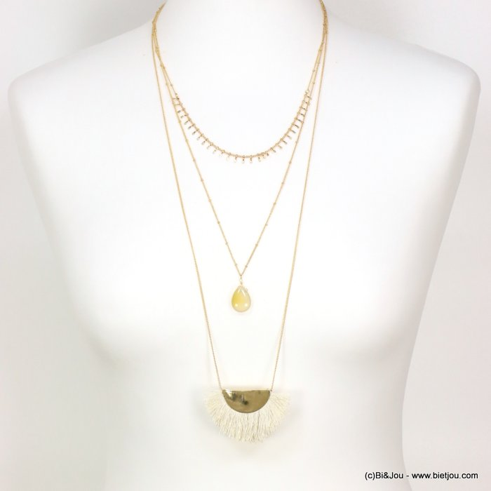 long necklace 0119092-19 sautoir multi-layer stone drop fan-Shaped thread tassel pendant
