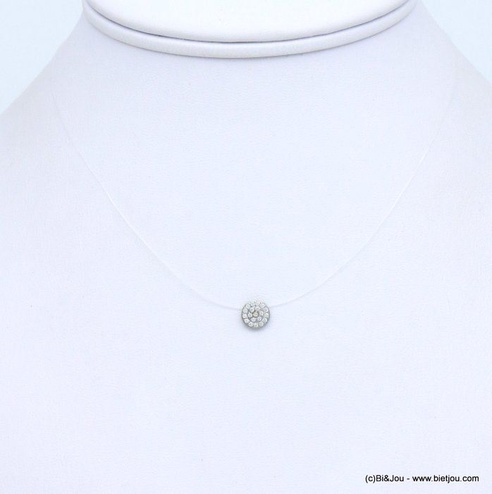 collier 0119103-13 acier inoxydable fil nylon invisible strass