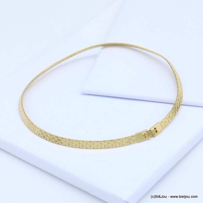 necklace 0119116-14 metal flexible snake print choker fold over link watch clasp 6x400mm
