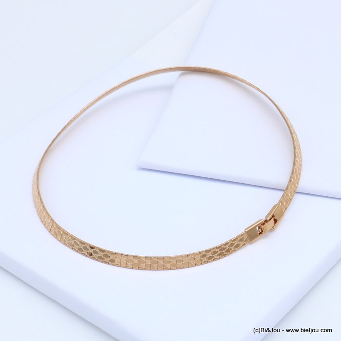 necklace 0119116-23 metal flexible snake print choker fold over link watch clasp 6x400mm