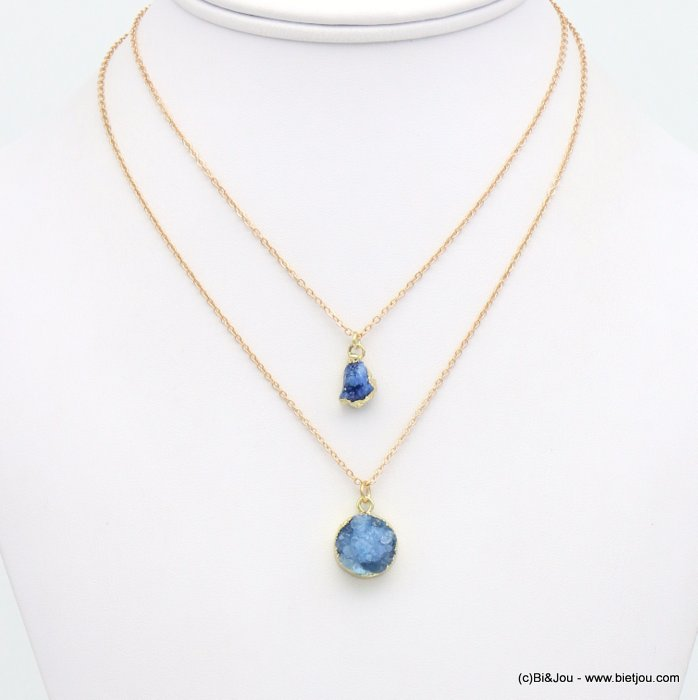 necklace 0119119-09 double-layer short coloured natural stone woman
