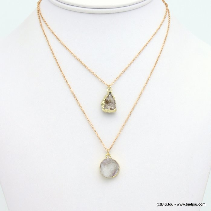 necklace 0119119-25 double-layer short coloured natural stone woman