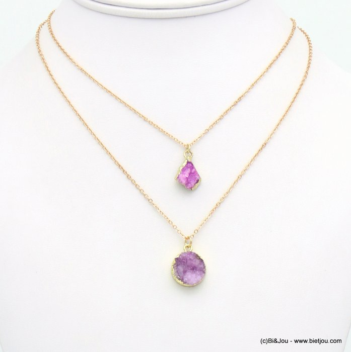 necklace 0119119-34 double-layer short coloured natural stone woman