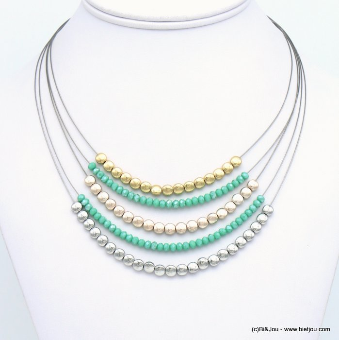 necklace 0119121-17 crystal-metal