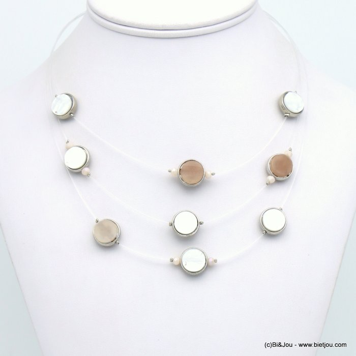necklace 0119123-37 invisible nylon thread resin-metal-crystal