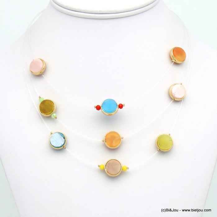 necklace 0119123-99 invisible nylon thread resin-metal-crystal