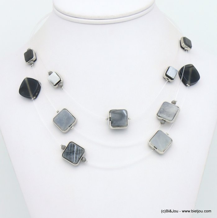 necklace 0119124-25 invisible nylon thread resin-metal-crystal
