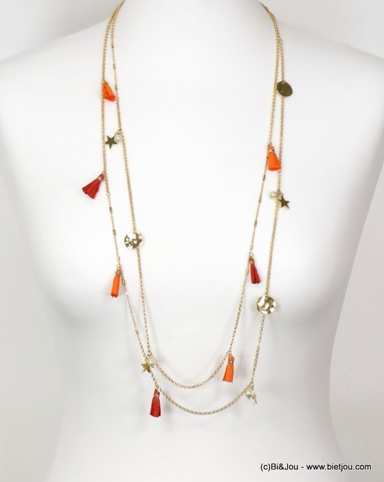 necklace 0119125-11 sautoir star tassel metal-pearl-paper