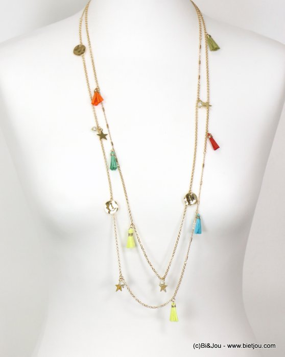 necklace 0119125-99 sautoir star tassel metal-pearl-paper