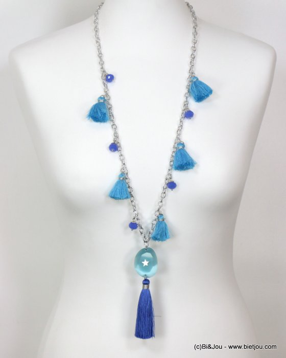 necklace 0119126-08 sautoir star tassel metal-crystal-glass-polyester