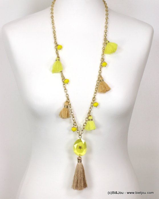 necklace 0119126-43 sautoir star tassel metal-crystal-glass-polyester