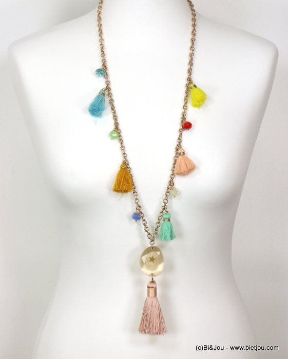 necklace 0119126-99 sautoir star tassel metal-crystal-glass-polyester
