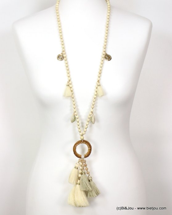 necklace 0119127-06 sautoir tassel shell-metal-crystal-cotton-rattan