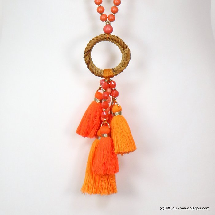 necklace 0119127-11 sautoir tassel shell-metal-crystal-cotton-rattan