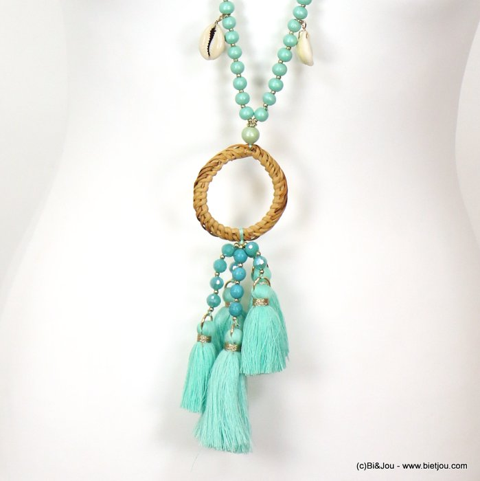 necklace 0119127-17 sautoir tassel shell-metal-crystal-cotton-rattan