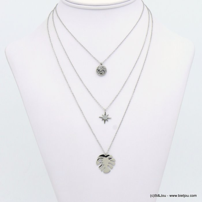 necklace 0119144-13 leaf Monstera stainless steel-crystal