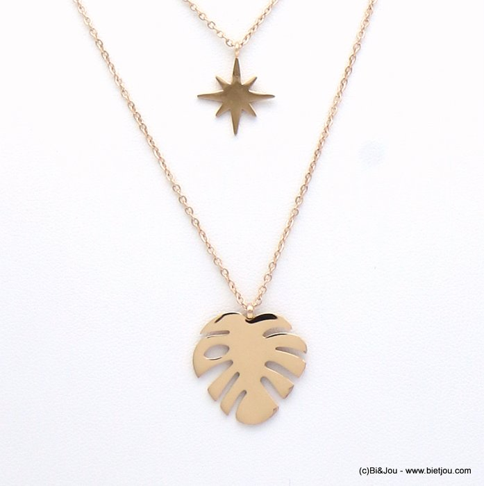 necklace 0119144-23 leaf Monstera stainless steel-crystal