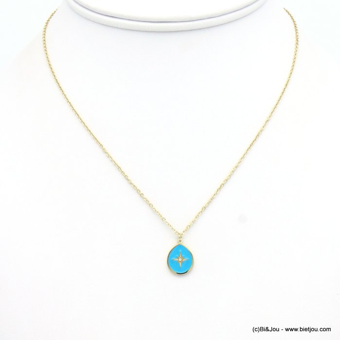 necklace 0119145-08 drop stainless steel-enamel-strass