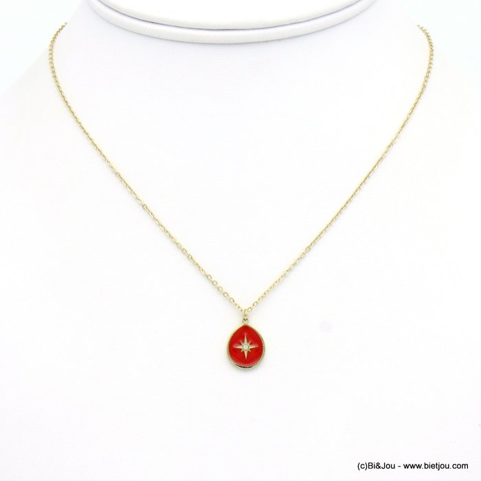 necklace 0119145-12 drop stainless steel-enamel-strass