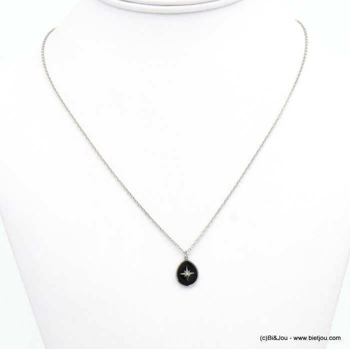 necklace 0119146-01 drop stainless steel-enamel-strass