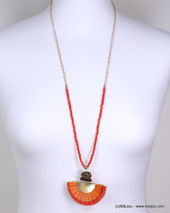 Long necklace 0119150-11 jaseron mesh chain, colored faceted pearls, oversize bicolor range, glass and wood parts