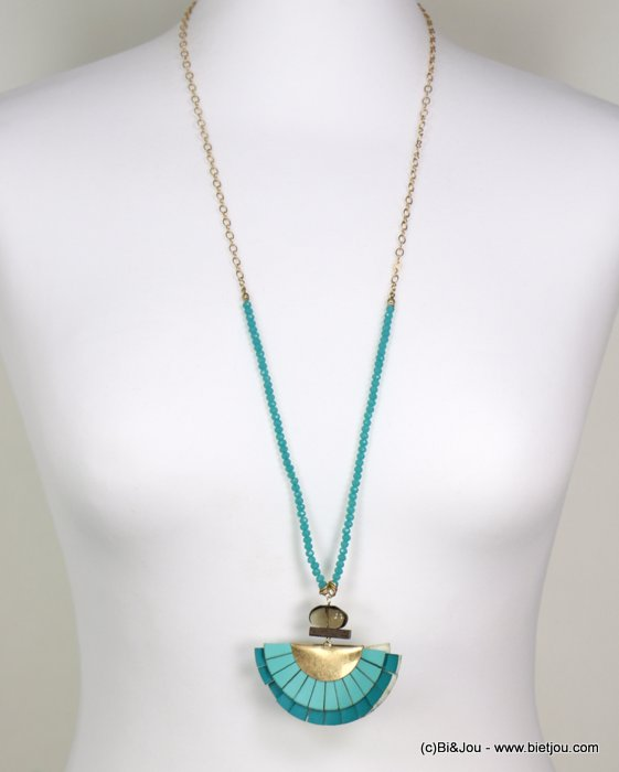 Long necklace 0119150-17 jaseron mesh chain, colored faceted pearls, oversize bicolor range, glass and wood parts