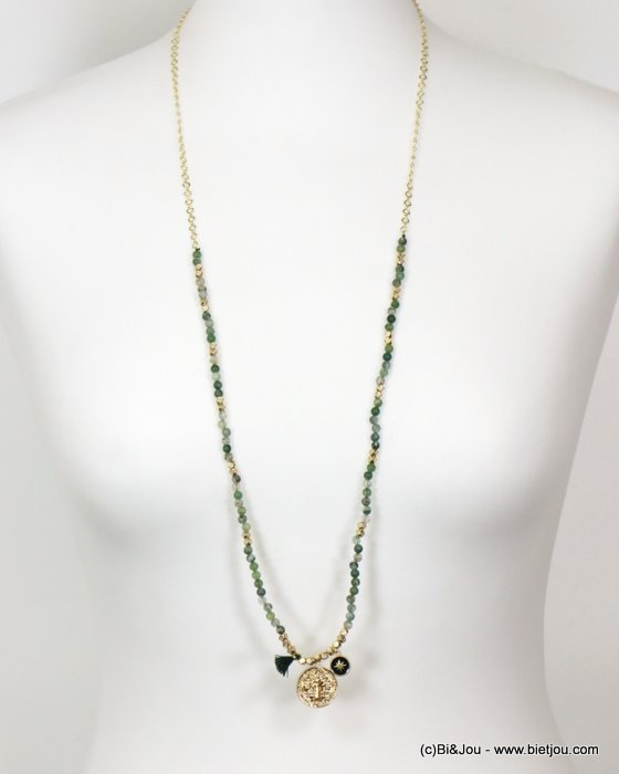 long necklace 0119151-07 sautoir tassel metal-reconstitued stone-polyester
