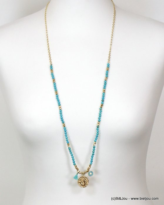 long necklace 0119151-17 sautoir tassel metal-reconstitued stone-polyester